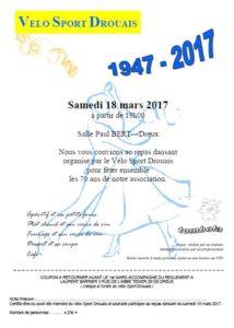 Réservation Repas Dansant 70 ans VELO SPORT DROUAIS